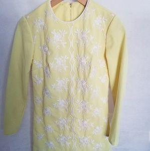 Women's 1960s Yellow, Long Sleeve Dress